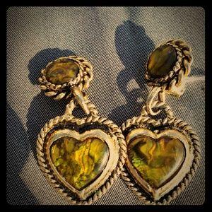 Jewelry - Retro gold tone olive green heart shaped earrings